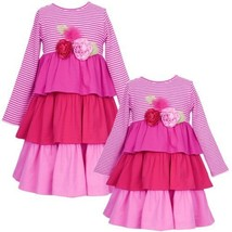 Size 2 T Rre 49721 H Pink Red Knit Stripe And Solid Triple Tier Rolled Rosette ... - $36.04