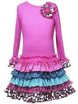 Size 6 X Rre 50322 E Fuchsia Pink Long Sleeve Multi Mix Print Ruffle Skirt Spec... - $38.51