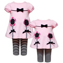 Size-18M RRE-51911F 2-Piece PINK BLACK KNIT SEQUINED FLOWER STEM APPLIQUE Tun...
