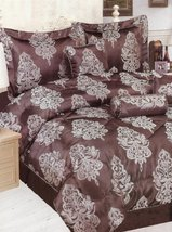 KING Jacquard Bed in a Bag 7 pieces Comforter Bedding Set - Brown and Silver/... - $89.05
