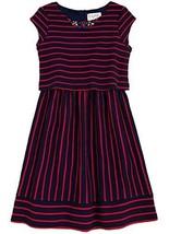 Big Girls Tween Berry-Red/Blue Jewel Neckline Texture Stripe Pop Over Dress, ...