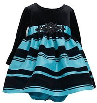 Bonnie Baby Baby Girls' Black Velvet Turquoise Stripe Christmas Dress 12M X13...