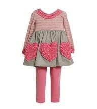Bonnie Jean Girls Heart Rusching Fall Dress Outfit Set, Pink , 4 [Apparel]