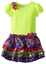 Bonnie Jean Little Girls' Multi Print Tiered Dress, Purple, 5 [Apparel]