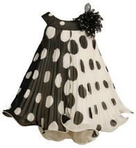 Black White Crystal Pleat Positive Negative Dot Dress BK1TW,Bonnie Jean Baby-...