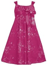 Fuchsia-Pink Sequin Embroidered Empire Waist Babydoll Dress FU3SA, Fuchsia, B...