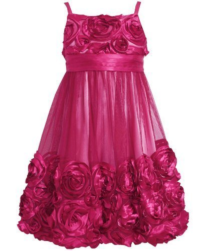Rose-Pink Bonaz Rosette Mesh Bubble Dress RO4TW,Bonnie Jean Tween Girls Speci...