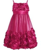 Rose-Pink Bonaz Rosette Mesh Bubble Dress RO4ST,Bonnie Jean Tween Girls Speci...