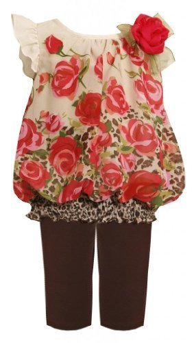 Bonnie Baby Baby-Girls Newborn Chiffon Rose Legging Set, Brown, 0-3 Months