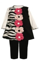 Button-Flower Solid-Zebra Stripe Fleece Jumper Dress BK1TW,Bonnie Jean Baby-I...