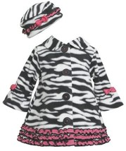 Ruffle Zebra Stripe Bell Sleeve Fleece Coat / Hat Set BW1TW,Bonnie Jean Baby-...