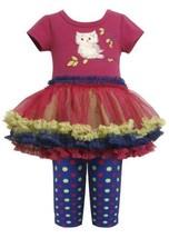 Magenta Blue Owl Applique Tutu Dress / Legging Set MG0SI,Bonnie Jean Baby-New...