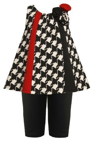Bonnie Jean Baby Girl Black/White Houndstooth Colorblock Panel Dress/Legging Set