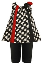 Bonnie Jean Baby Girl Black/White Houndstooth Colorblock Panel Dress/Legging Set image 1