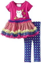 Bonnie Baby Baby-Girls Newborn Owl Tutu Legging Set (0-3 Months, Magenta)