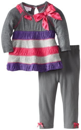 Bonnie Baby Baby Girls' Colorblock Heather Knit Legging Set, Silver, 24 Months