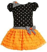 Bonnie Jean Girls Halloween Pumpkin Knit Glittering Mesh Dress, Orange, 2T