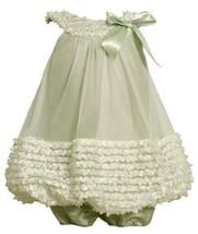 Sage Ruched Mini-Flutter Bonaz Border Bubble Dress SG0SI,Bonnie Jean Baby-New...