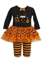 Orange Black Boo Owl Applique Dress / Legging Set OR1TF,Bonnie Jean Baby-Infa...