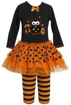 Orange Black 'Boo Owl' Applique Tutu Dress / Legging Set OR3SI,Bonnie Jean Li...