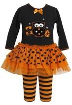 Orange Black 'Boo Owl' Applique Tutu Dress / Legging Set OR2TW,Bonnie Jean To...