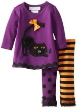 Bonnie Baby Baby-Girls Newborn Rusched Cat Applique Legging Set, Purple, 6-9 ...