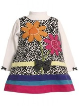 Spotted Sequin Flower Bouquet Corduroy Jumper Dress BW1TW,Bonnie Jean Baby-In...