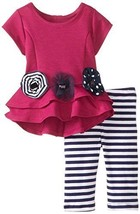 Bonnie Baby Baby-Girls 3M-24M Heart Back High Low Hem Legging Set (3-6 Months...