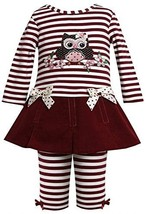 Baby Girls 3M-24M Burgundy-Red Sequin Owl Applique Dress/Legging set (6-9 Mon...