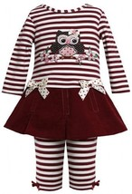 Burgundy-Red Sequin Owl Applique Dress / Legging set BU1TW,Bonnie Jean Baby-I... - $29.60