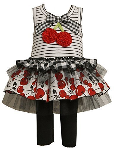 Bonnie Baby Boys' Knit Bodice To Tiered Skirt with Capri, Black/White, 12 Mon...