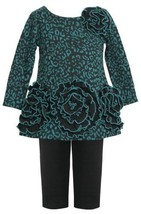 Teal Triple Rosette Border Ponte Knit Dress/Legging Set TL1HB, Bonnie Jean Ba...