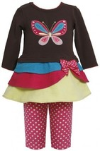 Tiered Colorblock Butterfly Applique Dress/Legging set BR0SI,Bonnie Jean Baby... - $30.49