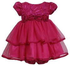 Fuchsia-Pink Sequin Bonaz to Double Tier Mesh Dress FU0CH Bonnie Jean Baby-Ne... - $39.50