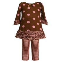 Bonnie Jean Baby/Newborn 3M-9M 2-Piece BROWN PINK RUFFLE STRIPE POLKA-DOT Par...