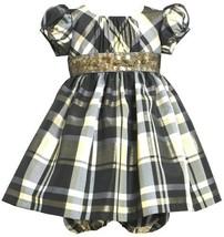 Gold Black Metallic Plaid Sequin Waistline Dress GD1HB Bonnie Jean Baby-Infan...