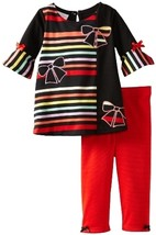 Bonnie Baby Baby Girls' Stripe and Solid Legging Set, Red, 18 Months [Apparel]