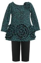 Teal Triple Rosette Border Ponte Knit Dress/Legging Set TL2HA, Bonnie Jean To...