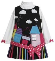 'School Houses' Applique Ponte Knit Jumper Dress BK1TW,Bonnie Jean Baby-Infan...
