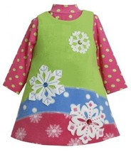 Colorblock Jewel-Snowflake Fleece Jumper Dress Set LM0SABonnie Jean Baby-Newb...