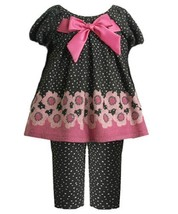 Size-12M BNJ-0885B 2-Piece Black and Pink Floral Border Pin Dot Fuzzy Knit Dr...