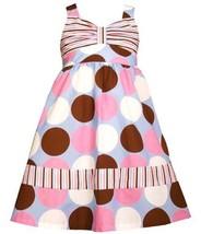 Blue Pink Brown White Multi Big Dot Print Babydoll Dress PR3BU, Print, Bonnie...