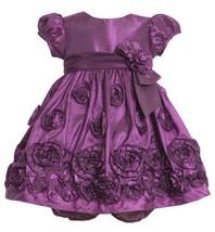 Magenta Bonaz Rosette Border Taffeta Dress MG1HB Bonnie Jean Baby-Infant Spec...