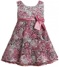 Little Girls 2T-6X Pink Ombre Bonaz Rosette Fit Flare Social Dress, Pink, 3T