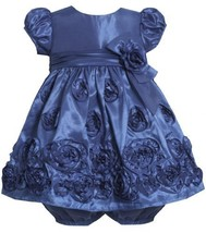 Bonnie Jean Baby Girls 3M-24M Royal-Blue Bonaz Rosette Border Taffeta Dress (...