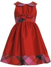Red Metallic Plaid and Iridescent Taffeta Collar Dres RD3BU Bonnie Jean Littl...