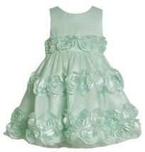 Mint-Blue Bonaz Rosette Border Mesh Overlay Dress MI2HA, Mint, Bonnie Jean Li...