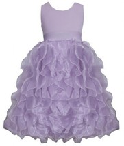 Lilac Metallic Knit to Vertical Organza Ruffles Dress LL4MH, Lilac, Bonnie Je...