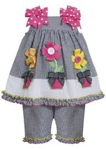 Button Flower Pot Checker Seersucker Dress/Capri set BK1MH, Black, Bonnie Jea...