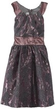 Bonnie Jean Big Girls' Allover Sparkle Dress with Circle Collar, Mauve, 8